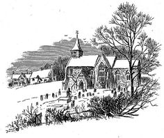 Walking to Church Drawing    A serene drawing of a gentleman walking to church. This vintage black and white church drawing includes trees, an open gate, and several houses in the background.