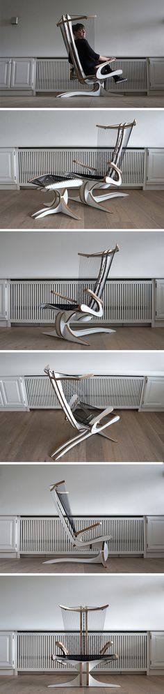 Inspired by the Greek mythological creature of a similar name, the Hippokamp chair is an abstract interpretation of a seahorse' iconic shape. Intentionally intricate, this artistic take on lounge seating almost looks more instrument than furniture. Its many taut cords of the seat, back and footrest, which support the user, give it an interesting harp-like look that's sure to garner second glances.