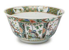 A Chinese Export porcelain famille-verte punch bowl, Kangxi period, circa 1700