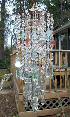 The Beach Antique Crystal Wind Chime On Hold by sheriscrystals, $289.95