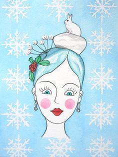Winter, Motiv 4 der Jahreszeiten, 18x22,5cm, Aquarell/Tusche auf Bütten 200g
