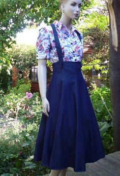 50s Vintage style Rockabilly High Waisted Gored Skirt / Jumper with Suspenders. Navy Blue Denim