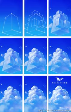 Nice breakdown of basic cloud anatomy--start from a square and work from there. ★ || CHARACTER DESIGN REFERENCES (www.facebook.com/CharacterDesignReferences & pinterest.com/characterdesigh) • Love Character Design? Join the Character Design Challenge (link→ www.facebook.com/groups/CharacterDesignChallenge) Share your unique vision of a theme every month, promote your art and make new friends in a community of over 25.000 artists! || ★