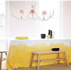Yellow table cloth  antlers