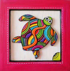 """Tableau de """"Kawann"""" la tortue colorée des mers"""
