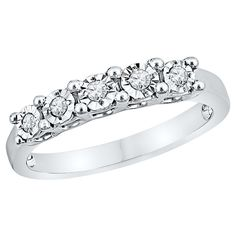 1/10 CT. T.W. Round Diamond Miracle Set Anniversary Ring in Sterling Silver