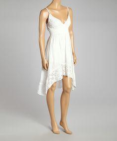 Another great find on #zulily! White Pointelle Shirred Sleeveless Surplice Dress  - Women #zulilyfinds