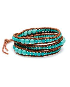 Chan Luu Silver & Leather Turquoise Wrap Bracelet