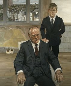 'Two Irishmen in W11' by Lucian Freud (1984-5) Formal portrait of father and son perhaps.