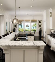 Granite countertops that look like marble - but a little too busy for me I think