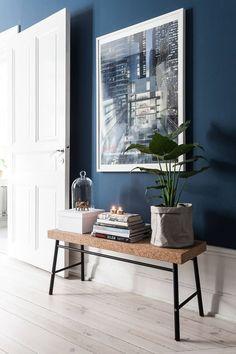 navy blue walls with white trim, navy interior design, pantone sailor blue