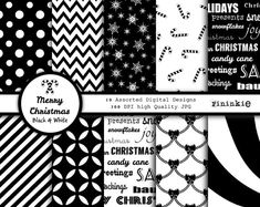 Black and White Christmas Digital Paper - Christmas Scrapbooking Paper Black and White Chevron - Dig Christmas Items, Christmas Candy, White Christmas, Christmas Holidays, Xmas, Christmas Decor, Paisley, Scrapbook Paper, Scrapbooking