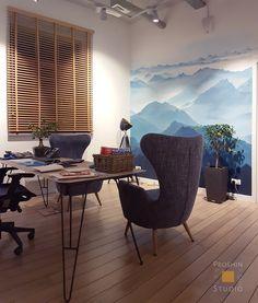 Роспись стены в офисе на тему горы. Креативный дизайн, стильное оформление.  http://rospissten.moscow/