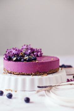 This lovely Raw Blueberry Cheesecake with wild blueberries and lemon is really fresh and very berrylicious. It's a great dessert for any occasion! No Bake Blueberry Cheesecake, Lemon Cheesecake Bars, Blueberry Desserts, Vegan Blueberry, Cheesecake Cake, Blueberry Cake, Raw Vegan Cheesecake, Desserts Crus, Raw Vegan Desserts