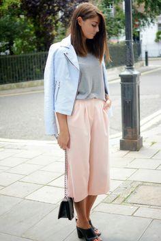 Pastel biker jacket, culottes, basic t-shirt, Chanel Boy Bag, Zara mules London Street style Fashion Blogger EJ Style