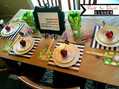 Have a Back to School Dinner with your family. How cute is this!?!