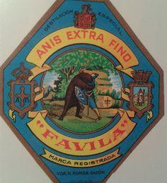 Antigua etiqueta del anís FAVILA, elaborado en Gijón.