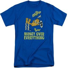 Garfield/Money Is Everything Short Sleeve Adult T-Shirt Tall in Royal