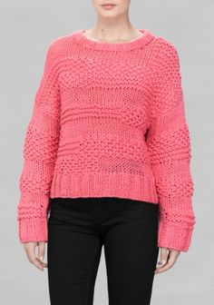 Similar to Apiece Apart: A heavy-knit wool blended sweater featuring a decorative raised pattern.