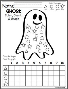 October Ghost Shapes Graph freebie for Halloween and fall. Color, count, and graph the shapes in this worksheet for Kindergarten and preschool. Math Classroom, Classroom Activities, Preschool Activities, Graphing Worksheets, Kindergarten Worksheets, Printable Worksheets, Coloring Worksheets, Number Worksheets, Printables