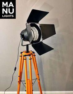 Lampa stojąca podłogowa statyw reflektor LOFT VINTAGE DESIGN pomarańcz Wrocław - image 2