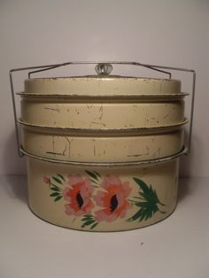 Vintage cake and pie carrier, this was so much  cooler because you could add the pie to it.