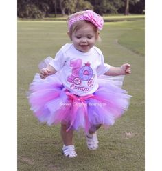 Pink and Purple Cinderella Carriage Birthday Tutu Outfit