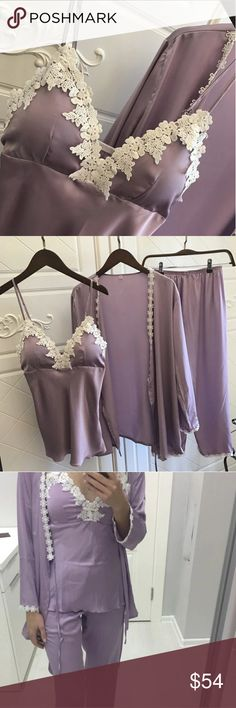 JUST IN🔶️(8-14) Lilac & Lace Silky PJ Set Gorgeous color for spring.  Elegant and sexy.  Polyester/rayon blend. Padded cups which are removable.  Includes, robe, cali and cropped pants.  Lace trim.  Available in L (8/10) and XL (12/14) .  Runs small to true. Intimates & Sleepwear Pajamas