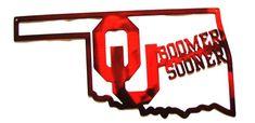 Licensed JK3110 Metal OKLAHOMA University OK OU sooners boomer sooner ou logo in state of oklahoma M