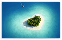 Aerial View Of Heart-Shaped Tropical Island wallpaper