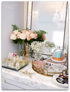 Adding Glam to Your Boudoir | vanity decor, vanity trays, tray styling, jewelry display, perfume display, glam vanity