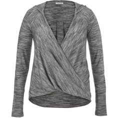 maurices Plus Size - Pullover With Wrap Front And Hood ($36) ❤ liked on Polyvore featuring tops, grey, plus size, hooded top, plus size tops, twist top, long sleeve pullover and long sleeve tops
