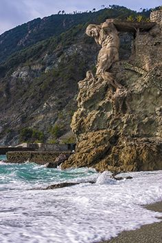 """An unexpected surprise as we were leaving Montorosso in Cinque Terre for a hike to Levanto the next village over. This man made of stone called """"The Giant"""" is an incredible ancient work of art!"""
