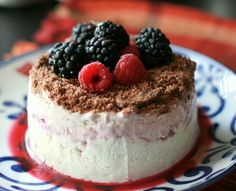 No-Bake Cheese Torte with Raspberry and Blackcurrant Coulis