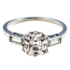 Asscher Cut Diamond Ring   From a unique collection of vintage solitaire rings at https://www.1stdibs.com/jewelry/rings/solitaire-rings/