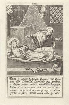 Cornelis Galle (I)   Catharina in de graftombe van de heilige Agnes, Cornelis Galle (I), Philips Galle, 1603   Catharina bezoekt het lichaam van de heilige Agnes dat opgebaard is in een kapel. Ze buigt voorover om de voeten van Agnes te kussen en de voet komt vanzelf omhoog. Deel van een serie over Catharina van Siena bestaande uit een titelprent, een portret en 32 genummerde scènes uit haar leven.
