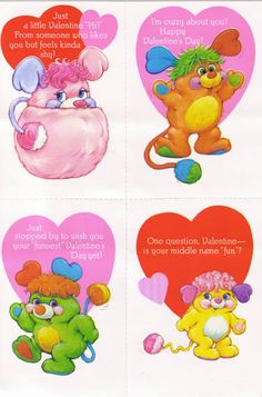 Popples Valentine cards. I had these!