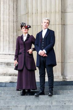 """Action! Peter Capaldi and Michelle Gomez film series eight of """"Doctor Who"""" at St. Paul's Cathedral in London"""