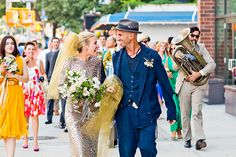 Piper Perabo Got Married In A Silver Dress & Gold Veil #Refinery29