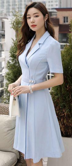 Korean Women`s Fashion Shopping Mall, Styleonme. Cute Dresses, Casual Dresses, Fashion Dresses, Blue Dress Casual, Hijab Evening Dress, Evening Dresses, Moda Korea, Beauty Full Girl, Japanese Outfits