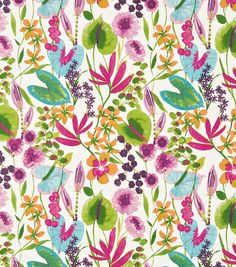Shop for Fabric at Style Library: Nalina by Harlequin. An overlapping profusion of exotic flowers fill this energetic wallpa. Fabric Blinds, Curtain Fabric, Teal Fabric, Linen Fabric, Harlequin Fabrics, Home Curtains, Tropical Design, Fabric Design, Branding Design