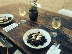 Lunch for two. Beetroot salad with goats cheese and walnuts