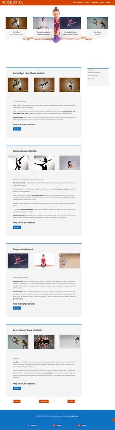 Web Design - Services page layout for acrobatics courses 🤸‍♀️🤸‍♂️🤸‍♂️🤸‍♂️ Page Layout, Layout Design, Web Design Services, Building A Website, Bucharest, Gymnastics, School, Fitness, Layout