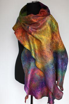 "Superfine Australian merino wool, mulberry silk. Length 78"" (198 cm) Width  15"" - 17 3/4"" (38-45 сm) Weight 3,6 oz (101 gm)"