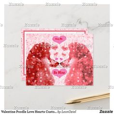 Shop Valentine Poodle Love Hearts Customize Sayings Holiday Postcard created by LeonOziel. Dog Jewelry, Holiday Postcards, Pet Accessories, Love Heart, Poodle, Hearts, Girly, Seasons, Sayings