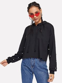 1ade1e01c7 To find out about the Pearls Beaded Drawstring Sweatshirt at SHEIN
