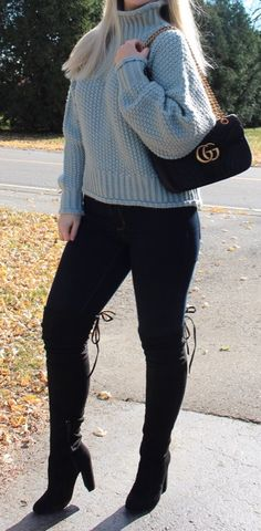 Chunky knit sweater, Gucci Marmont bag, black over the knee boots, fall fashion