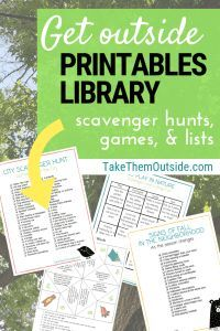 Want access to printables that will get you and your kids outside? Check out this resource library full of scavenger hunts, packing lists, games, and more! Fun Outdoor Games, Outdoor Activities For Kids, Nature Activities, Infant Activities, Fun Activities, Weekend Activities, Library Scavenger Hunts, Bingo For Kids, Camping Crafts