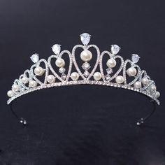 HG625 Pearl Beads Wedding Pageant Tiara Bridal Rhinestones CZ Crown Headband Princess Headpiece