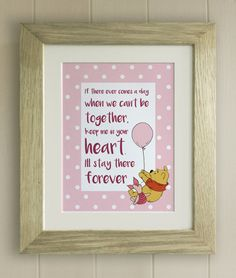 Personalised winnie the pooh christening quote print new baby framed winnie the pooh quote print new babybirth nursery picture gift pooh bear together forever 4 colours negle Images